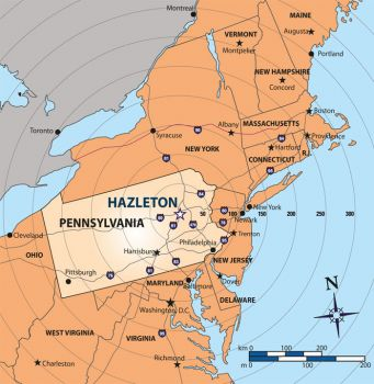 Hazleton, PA, is ideally located in the Northeast United States.
