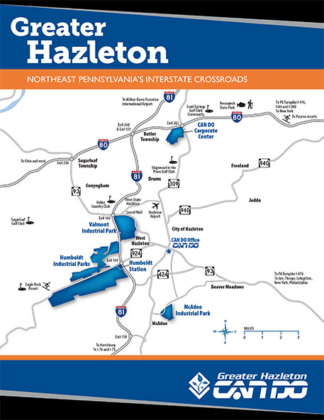 A 2-page flyer that highlights the overall location of Greater Hazleton, Pa.